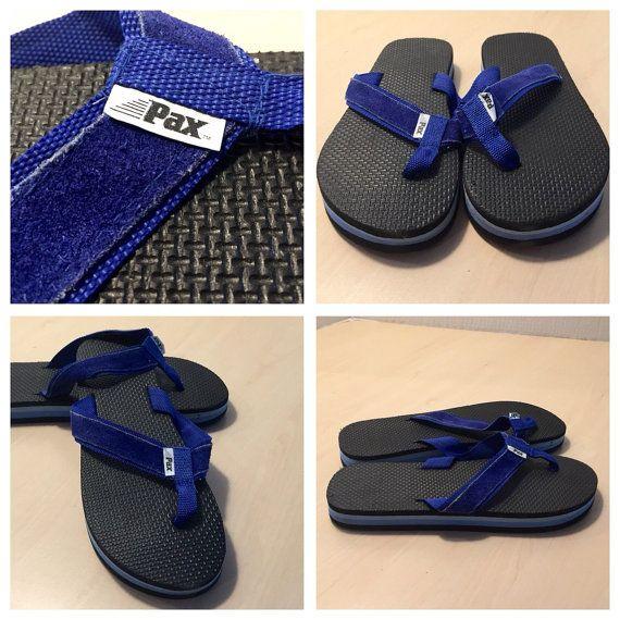 Vintage 80S Pax Rubber Flip Flops Blue Black Thick Mens -3394