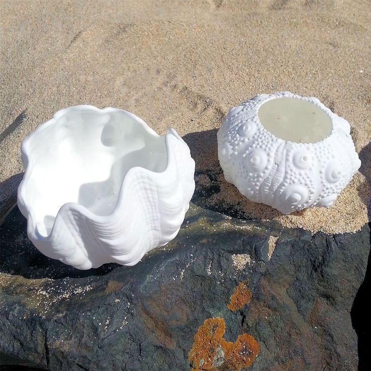 Nautica-Blanco-Votiva-te-titular-de-la-Luz-De-Ceramica-Shell-costeras-Decoracion-2-opciones