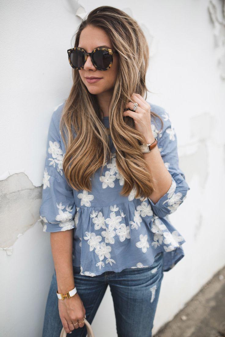 Chichwish Blue Floral Top