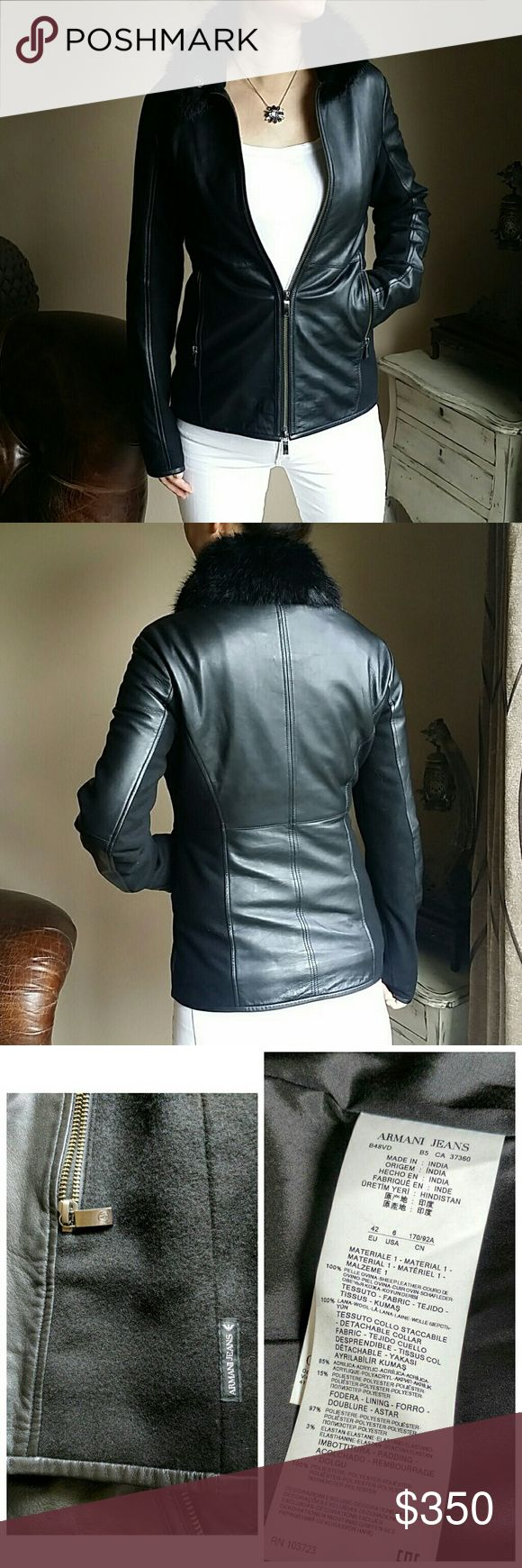 Armani Jeans Leather Jacket Beatiful fited Armani Jeans leather jacket with wool panel. Very soft. In great condition. Removable collar. Euro size 42.  Open to offers. Armani Jeans Jackets & Coats