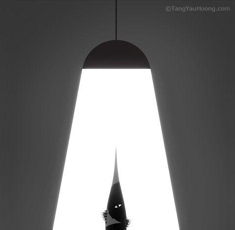 in between the light