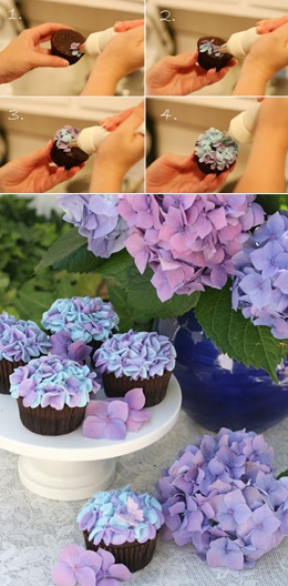 How to make hydrangea cupcakes (Glorious Treats). Gorgeous!