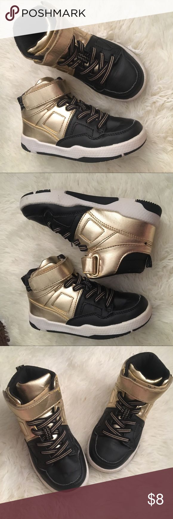 Black and gold high top sneakers Lightly worn H&M Shoes Sneakers