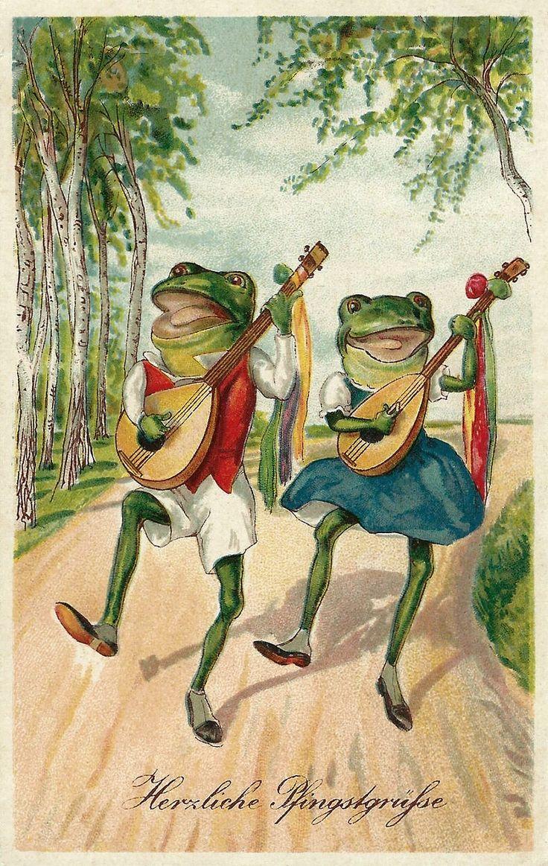 Аппетита картинки, винтажные открытки лягушки