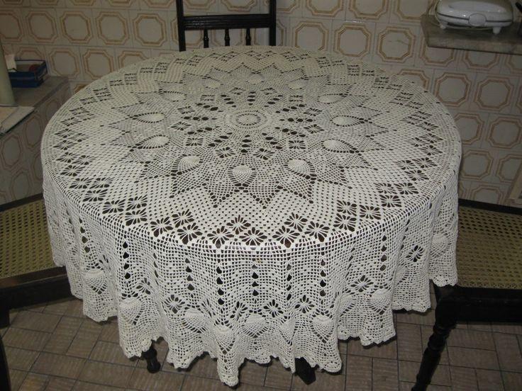 Celeida Artes em Fios: Toalha de mesa redonda em crochê