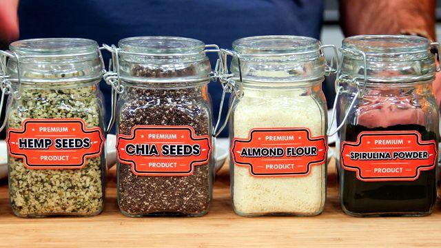 DIY Protein Powder - maca powder, hemp powder or seeds, chia seeds, almond powder, spirulina powder, ground fax, cocoa, cinnamon