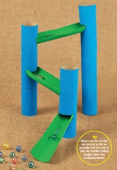 Here is a good reuse for those cardboard rolls - make a marble run from paper towel rolls!