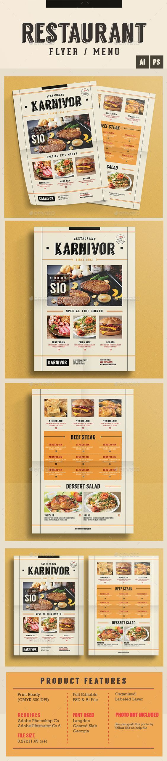Restaurant Flyer Food Menu Template PSD, Vector AI #design Download: http://graphicriver.net/item/restaurant-flyer-menu/14021906?ref=ksioks