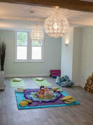 The Studio at the Sheffield Wellness Centre set up for an postnatal baby massage session run by The Daisy Foundation