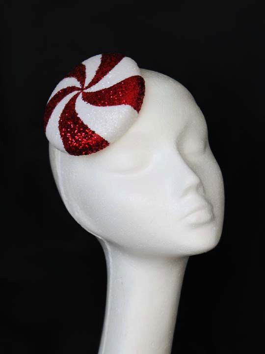 Christmas Fascinator, Peppermint Candy, Red and White, Glitter, Cocktail, Pillbox Hat on Etsy.