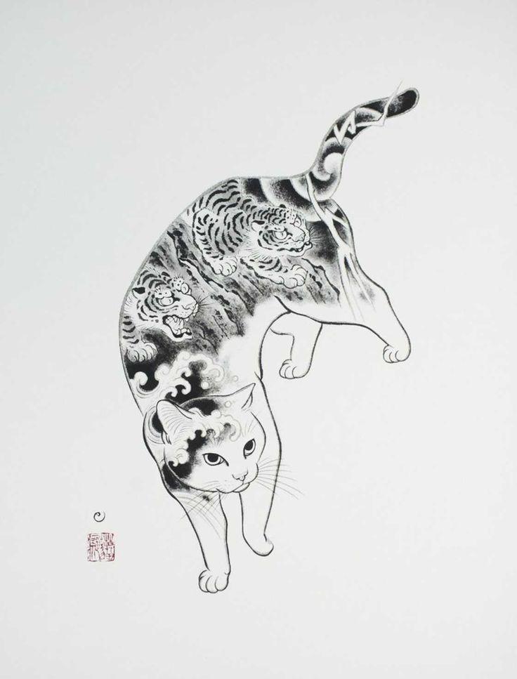 L'artiste japonaisKazuaki Horitomo, aujourd'hui basé en Californie, a décidé de mélanger ses deux grandes passions, les tatouages et les chats.Des créa