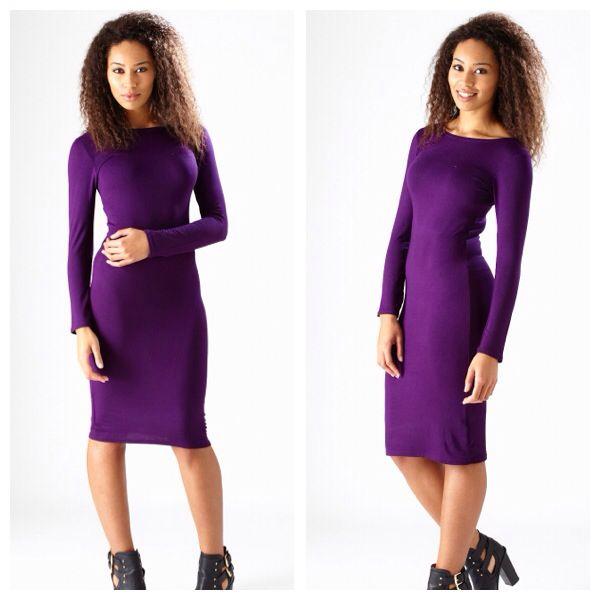 Purple Bodycon Midi Dress