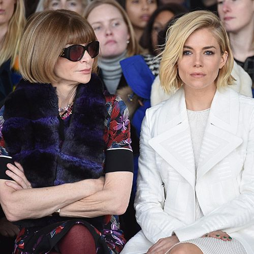 Anna Wintor and Sienna Miller. Seen at Calvin Klein. CELEBRITY FROW: AW15