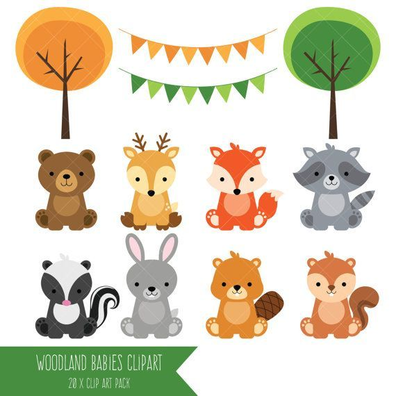Forest baby animals clipart