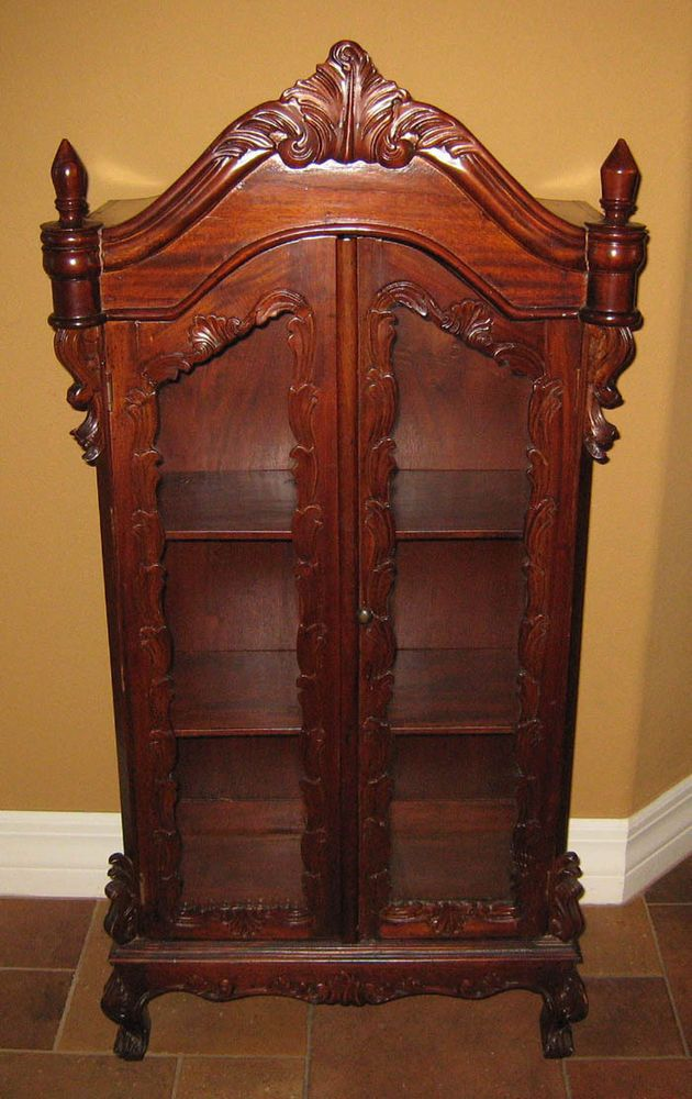 stunning ornate carved display cabinet salesman sample doll furniture 44 tall - Sample Furniture