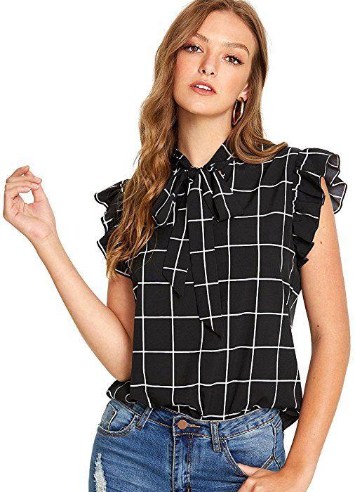 Romwe Women s Summer Cap Sleeve Ruffle Bow Tie Blouse Top Shirts Black XS  at Amazon Women s e17f21e08