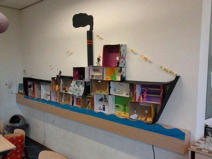 Gebruik schoenendozen en een keukenrol voor de schoorsteen. Met knutsel karton kan het kind de dozen en de hele boot zelf nog mooier versieren!
