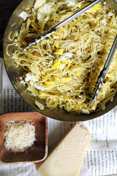 Here's a quick and delicious pasta dish to make when you have little time, and even less food in the house. All you need is a box of spaghetti, four eggs, olive oil and garlic (Parmesan is a delicious, but optional, addition). (Photo:  Suzy Allman for The New York Times)