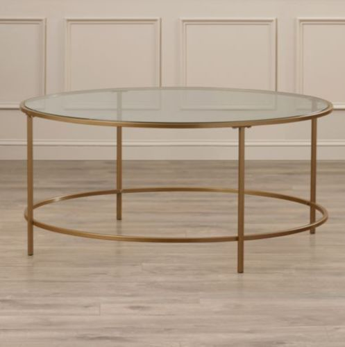 Coffee Table Vintage Round Living Room Decor Furniture Glass Top Round Shape New #CoffeeTable