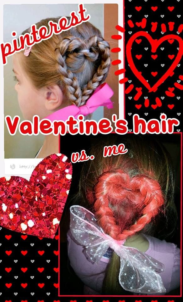 Valentines Hair! Heat braid.  Upside down topsy tail divide into 2 sections and braid then position to make heart shape and secure with elastic or ribbon! CUTE!