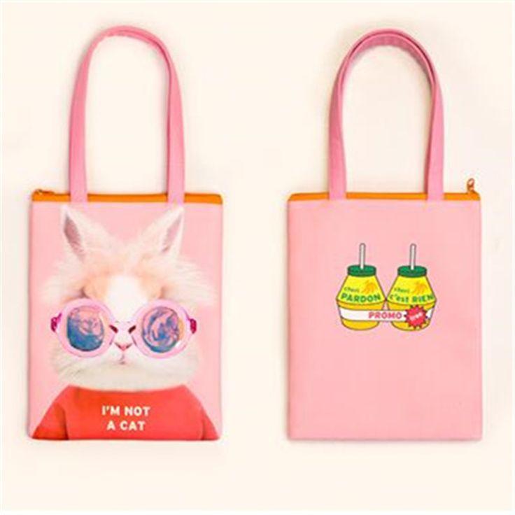 Мода Мужская сумка кожа PU лазерный мешок большие глаза животных печати сумки случайные мультфильм хозяйственная сумка милый кролик сумкакупить в магазине JOJO's T-Bag StoreнаAliExpress