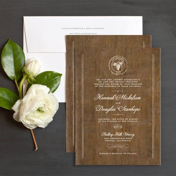 Rustic Winery Wedding Invitations