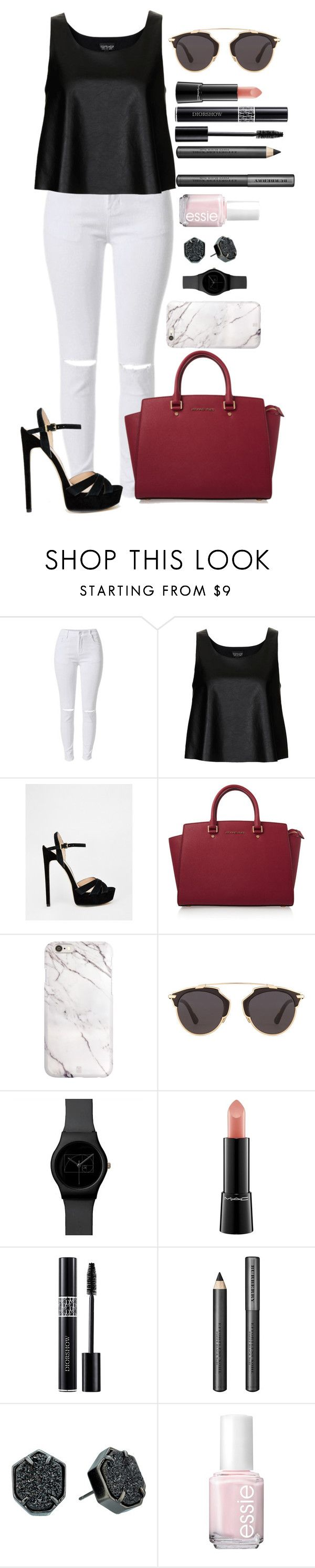 """Untitled #1336"" by fabianarveloc on Polyvore featuring Topshop, River Island, MICHAEL Michael Kors, Christian Dior, MAC Cosmetics, Burberry, Kendra Scott and Essie"