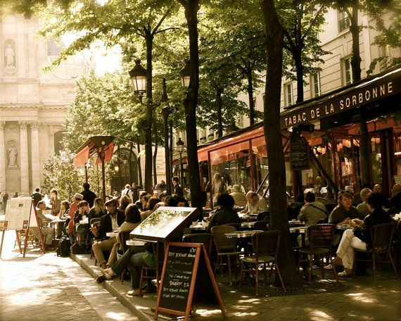 Paris photo - Paris Photo Café - Tabac de la Sorbonne Print - Paris Bistro Photograph Français Cafe Art parisien Home decoration murale