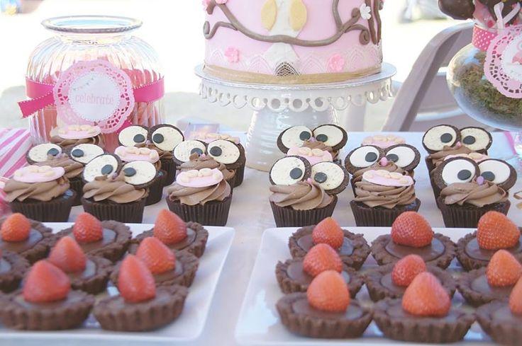 Chocolate tarts and owl cupcakes