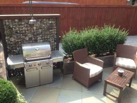 29 Amazing Outdoor Barbeque Areas : 29 Amazing Outdoor Barbeque Areas With  Rattans Sofa And Wooden Table And Stainless Grill Design