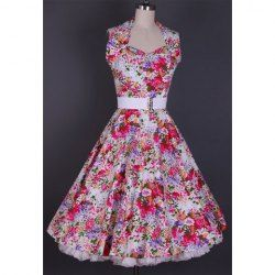 $36.62 Vintage Halterneck Ruffled Colorful Flora Print Country Western Dress For Women