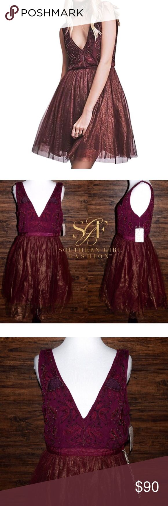 Free People mini dress patterned bohemian classic Beautiful metallic party dress featuring an effortless silhouette with intentional uneven embroidered beading at bodice.       Hidden side zip closure, fit and flare style skirt, fully lined, NYE, Christmas, Holiday Festive!! Free People Dresses