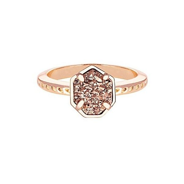 Calvin Ring | Rose Gold Drusy ($65) ❤ liked on Polyvore featuring jewelry, rings, drusy, red gold jewelry, druzy ring, pandora jewelry, kendra scott jewelry and kendra scott ring