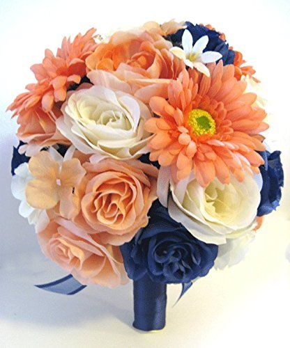 Wedding Silk flower Bouquet Bridal 17 piece Package Peach ...