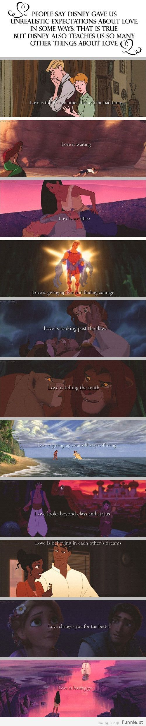 25 signs you grew up with Disney. This is the 25th, showing that it did teach you some realistic things about love <3