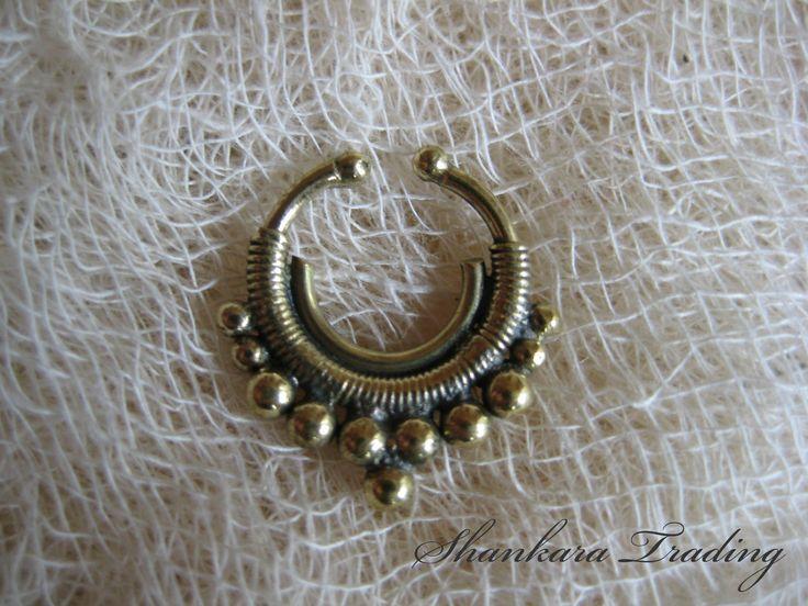 Brass Fake Septum Ring, Tribal Septum Ring