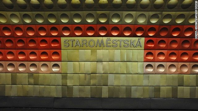 """12. Staromestska, Prague    A different color for each station, they look like something from the dystopian film """"A Clockwork Orange,"""" but the bubble-wrap design actually strengthens the metal.    www.cnn.com"""