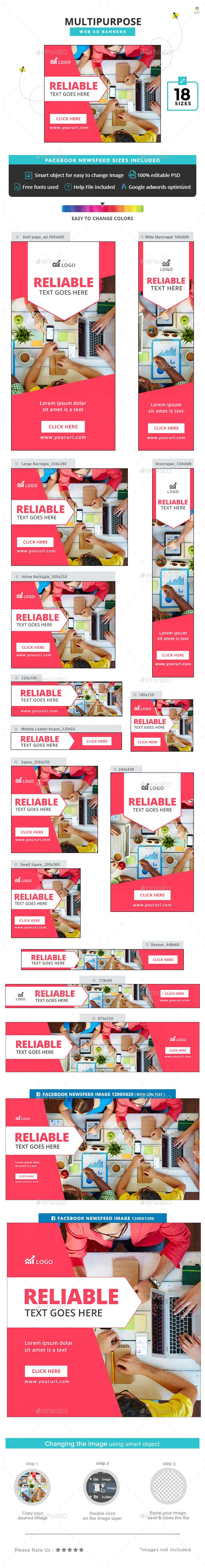 Multipurpose Banners - #Banners & Ads #Web Elements