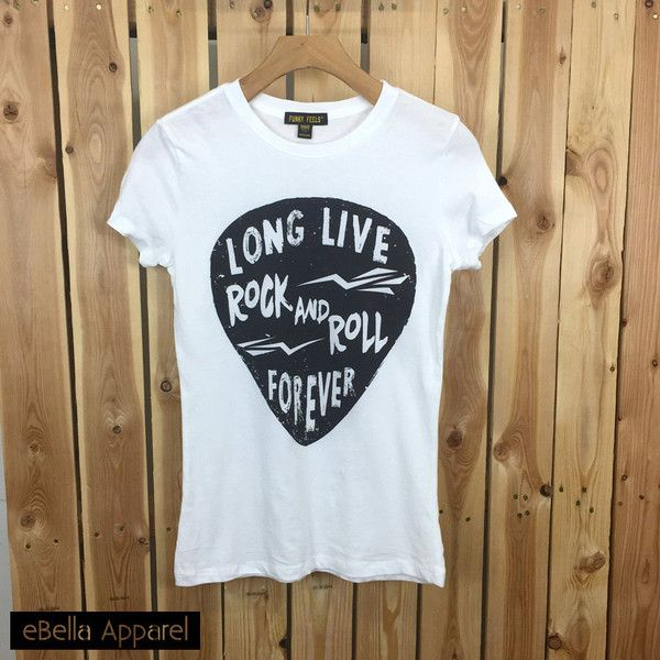 Long Live Rock Roll Forever Women's TShirt, Rock and Roll, Womens... (660 PHP) ❤ liked on Polyvore featuring tops, t-shirts, white short sleeve top, long t shirts, long length t shirts, long white top und rock n roll t shirts