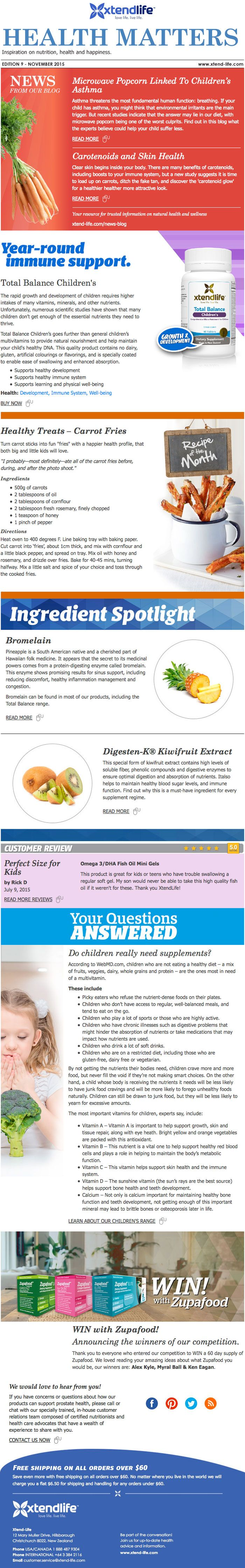 Health Matters  |  Microwave Popcorn Linked To Children's Asthma  |  Carotenoids and Skin Health  |  Total Balance Children's  |  Healthy Treats - Carrot Fries  |  Bromelain  |