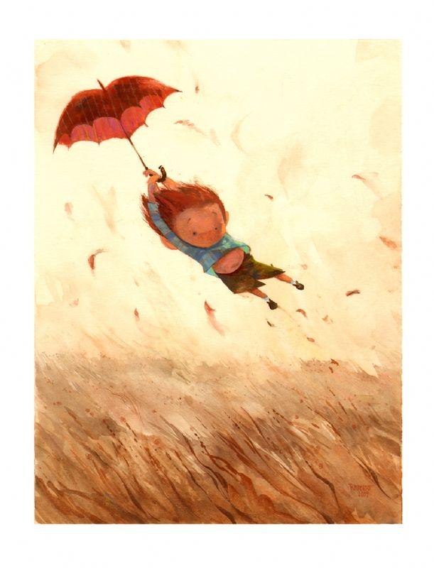Boy with red umbrella by Robert Kondo