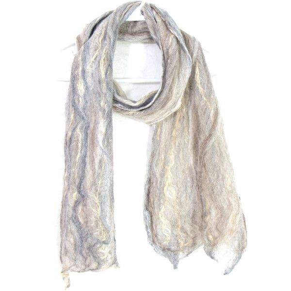 Cobweb Felted Scarf, Handmade Wool Winter Scarf, Beige Gray Brown,... (€41) ❤ liked on Polyvore featuring men's fashion, men's accessories, men's scarves, mens woolen scarves, mens scarves and mens wool scarves