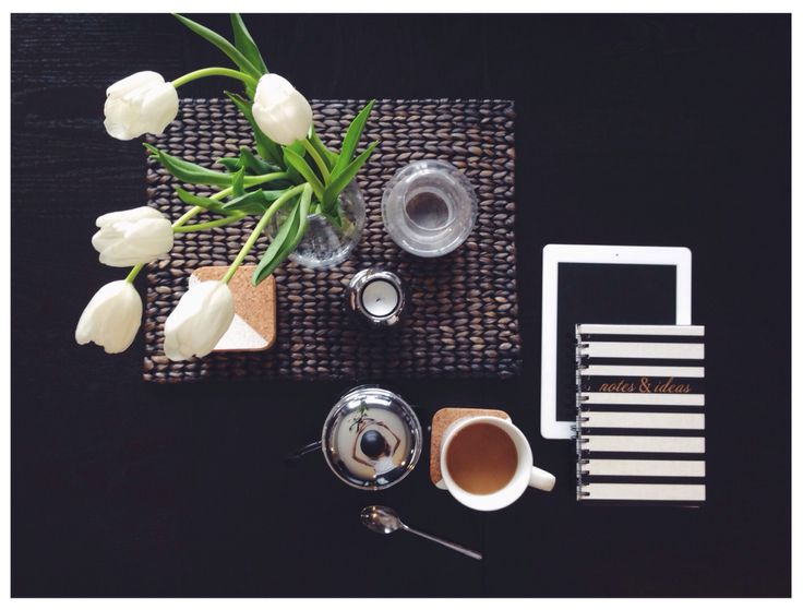 fresh flowers and french press. dining table style. tulips. coffee. fridays.