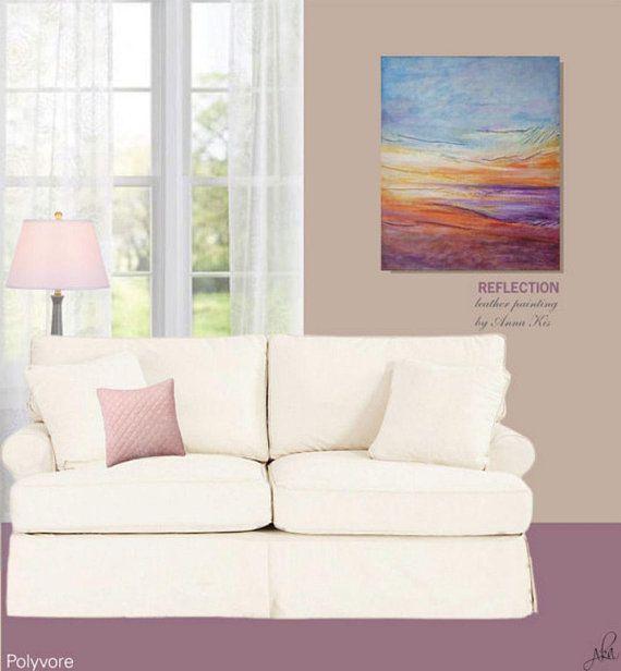 #purple #orange #painting #sunset #oceanpainting #abstract #leatherart #homedecor #wallart #leatherpainting #originalpainting #anniversarygift
