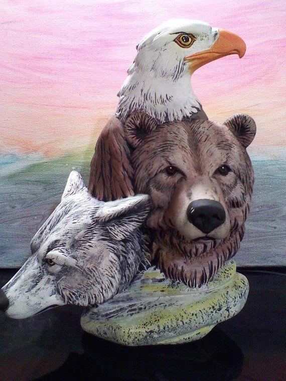 Gray Wolf Brown Bear And Eagle Figurine Wild Life