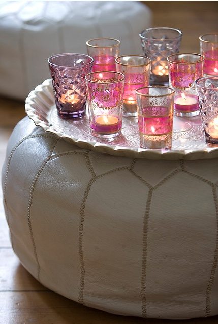 tealights in Moroccan glasses