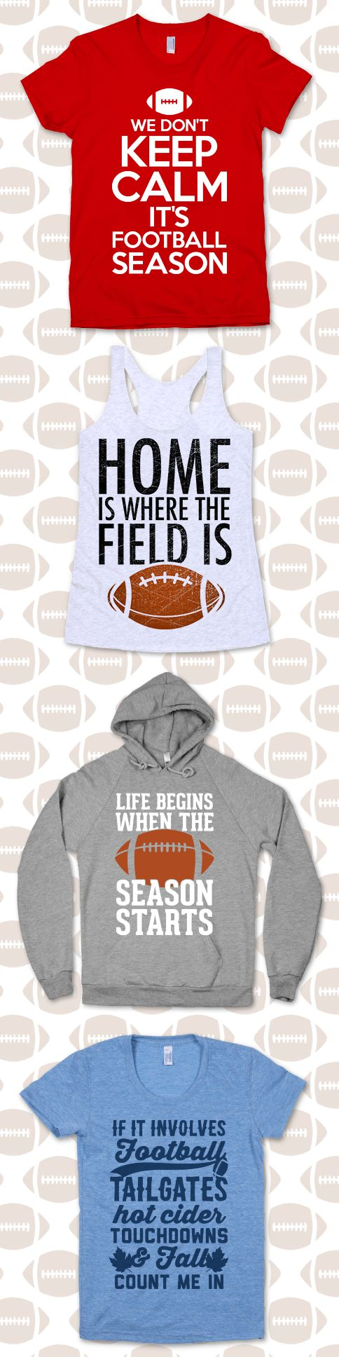 Fall is almost here, and it's time for the greatest sport to grace the season, football. Get ready for some fall season football with these fall football pun designs.