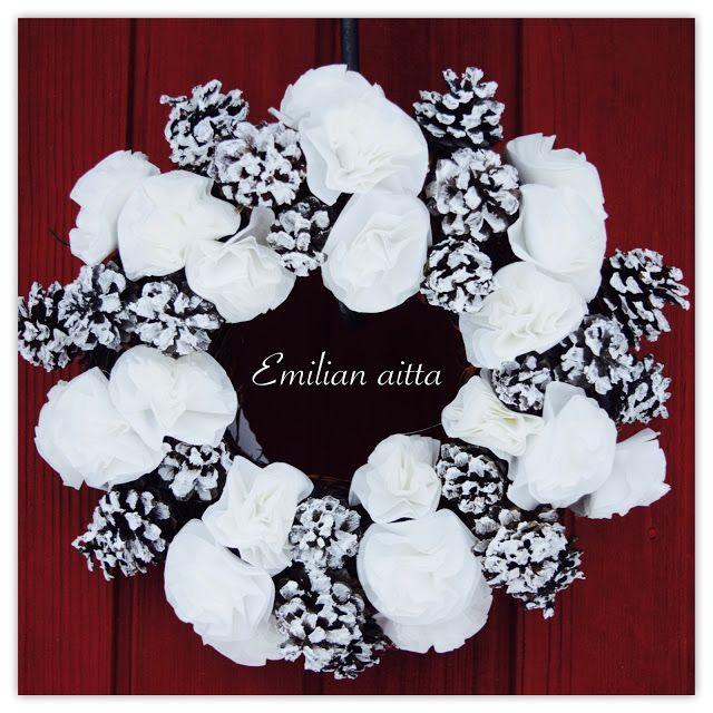 Emilian aitta Wreaths käpykranssi suodatinpussikranssi Christmas Wreath joulukranssi talvikranssi