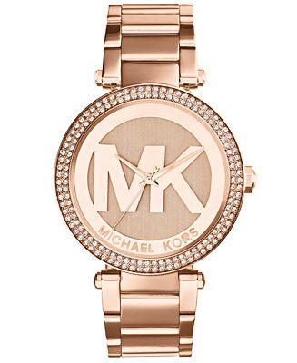 Michael Kors Women's Parker Rose Gold-Tone Stainless Steel Bracelet Watch 33mm