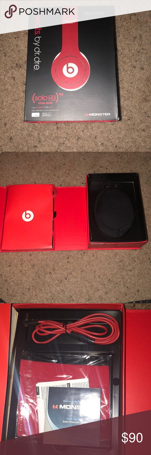 BRAND NEW BEATS SOLO HD Brand new Solo HD Beats by Dr. Dre. In special edition red. They've never been used and nothing wrong with them. Comes with headphones, headphones case, cord, and cleaning wipe. Ordered online so no tags but brand new and never been worn. Accessories